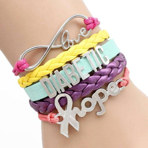 Image of Womens Diabetic Medical Alert ID Bracelet - For Type 1 and Type 2 Diabetes Health & Beauty Gadget Monkey Multi