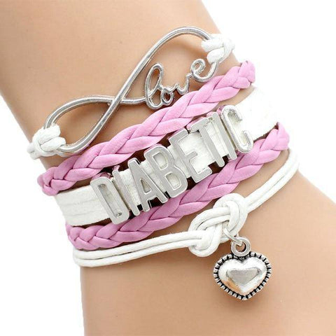 Image of Womens Diabetic Medical Alert ID Bracelet - For Type 1 and Type 2 Diabetes Health & Beauty Gadget Monkey Pink