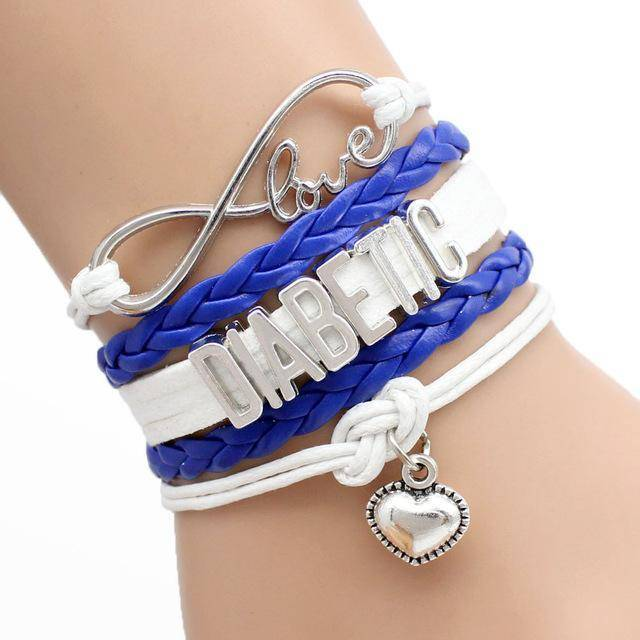 Womens Diabetic Medical Alert ID Bracelet - For Type 1 and Type 2 Diabetes Health & Beauty Gadget Monkey Navy
