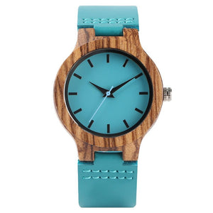Women's Bamboo Wooden Watch - Wristwatch Turquoise Jewelry & Watches Gadget Monkey Turquoise
