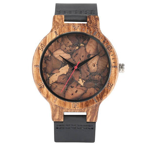 Mens Wooden Watch - Original Wood Quartz Wristwatches Jewelry & Watches Gadget Monkey Black