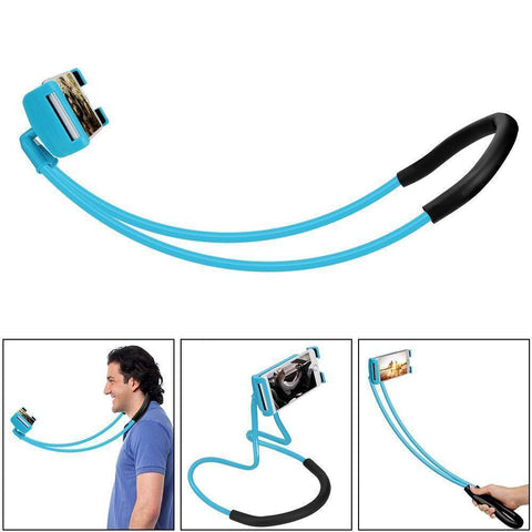 360 Degree Rotation Lazy Bendable Flexible Neck Phone Holder - iPhone Android Tech Accessories Gadget Monkey sky blue