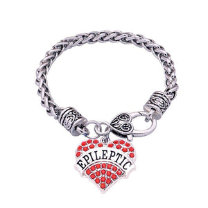 Women's Epileptic Medical Alert Bracelet - Crystal Heart Health & Beauty Gadget Monkey