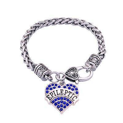 Women's Epileptic Medical Alert Bracelet - Crystal Heart Health & Beauty Gadget Monkey Blue