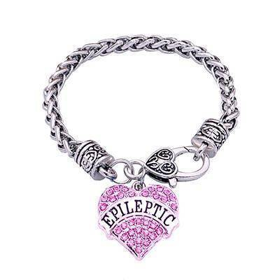 Women's Epileptic Medical Alert Bracelet - Crystal Heart Health & Beauty Gadget Monkey Pink