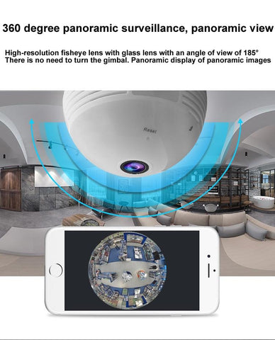 Image of 360 Degree Video Camera Panorama 1.3 - 2 - 5 Million Pixel Bulb With Hotspot Wireless WiFi Mobile Phone Remote Dual Light IP Home & Garden Gadget Monkey