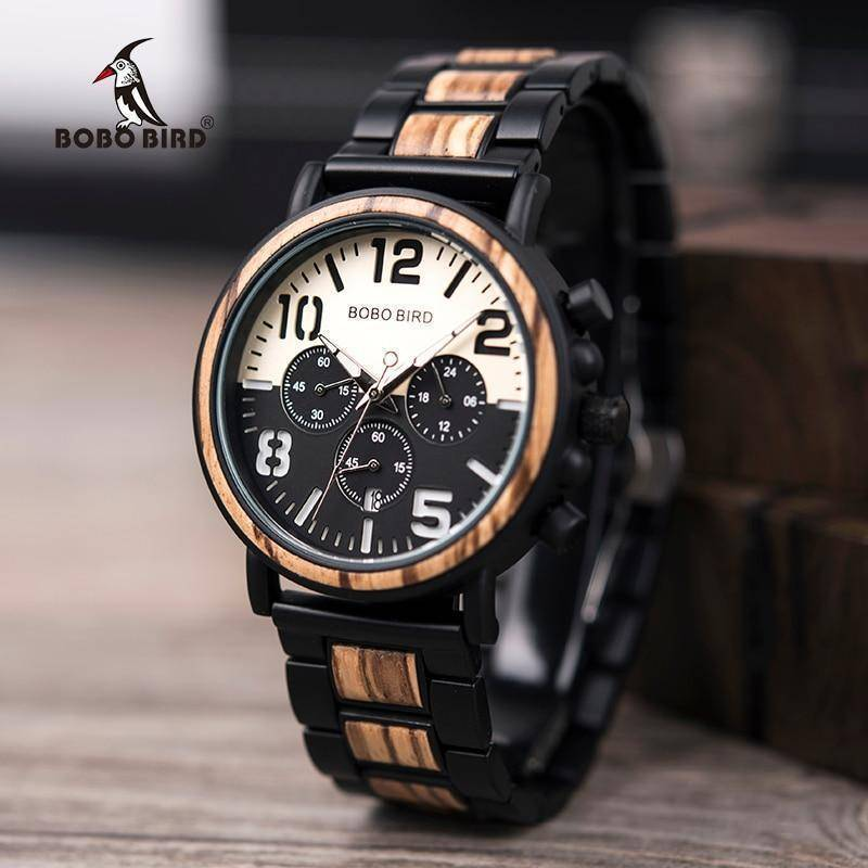 Wooden Stainless Steel Watch Mens Water Resistant Chronograph Jewelry & Watches Gadget Monkey