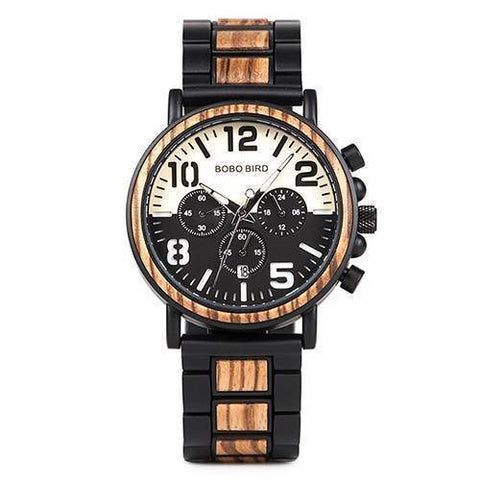 Image of Wooden Stainless Steel Watch Mens Water Resistant Chronograph Jewelry & Watches Gadget Monkey Blonde