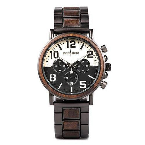 Image of Wooden Stainless Steel Watch Mens Water Resistant Chronograph Jewelry & Watches Gadget Monkey Dark