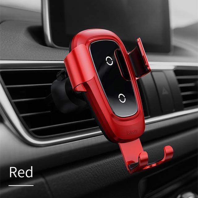 Qi Wireless Gravity Car Charger for iPhone and Samsung Tech Accessories Gadget Monkey Red