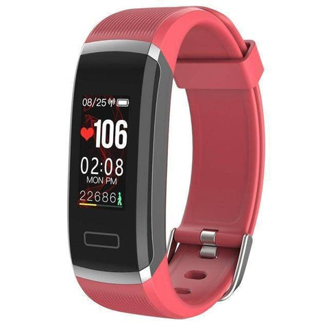 Fitness Tracker With Heart Rate Monitor - Waterproof Smart Wristband With Color Screen Tech Accessories Gadget Monkey Red