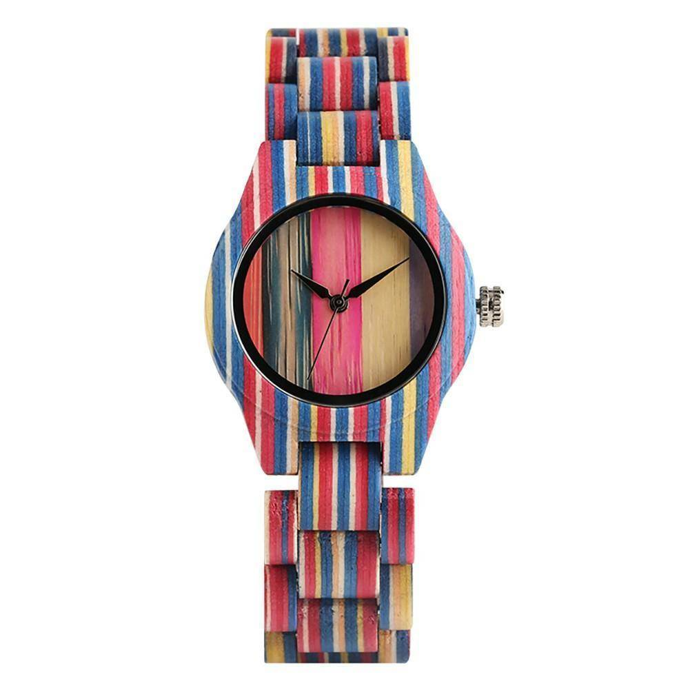 Unisex Bamboo Wood Watch with Colorful Wooden Strap Jewelry & Watches Gadget Monkey multi