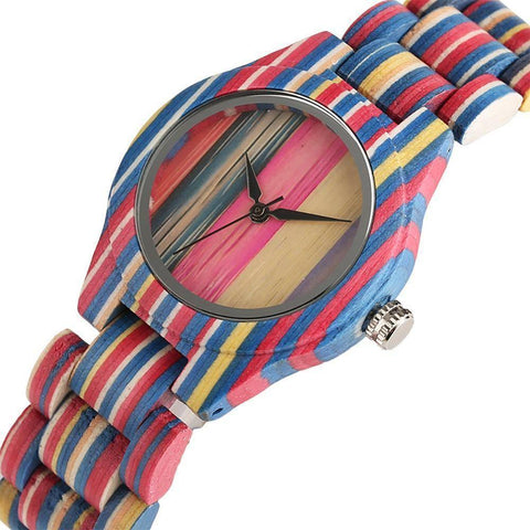 Image of Unisex Bamboo Wood Watch with Colorful Wooden Strap Jewelry & Watches Gadget Monkey