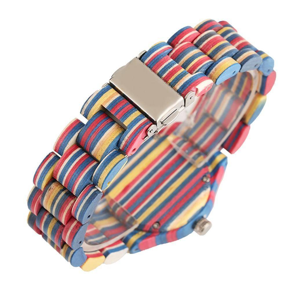 Unisex Bamboo Wood Watch with Colorful Wooden Strap Jewelry & Watches Gadget Monkey
