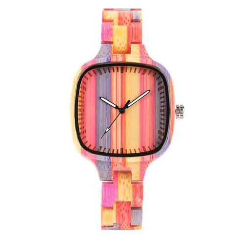 Image of Colorful Bamboo Wooden Watch - Bracelet-style Wristwatch Jewelry & Watches Gadget Monkey Multi