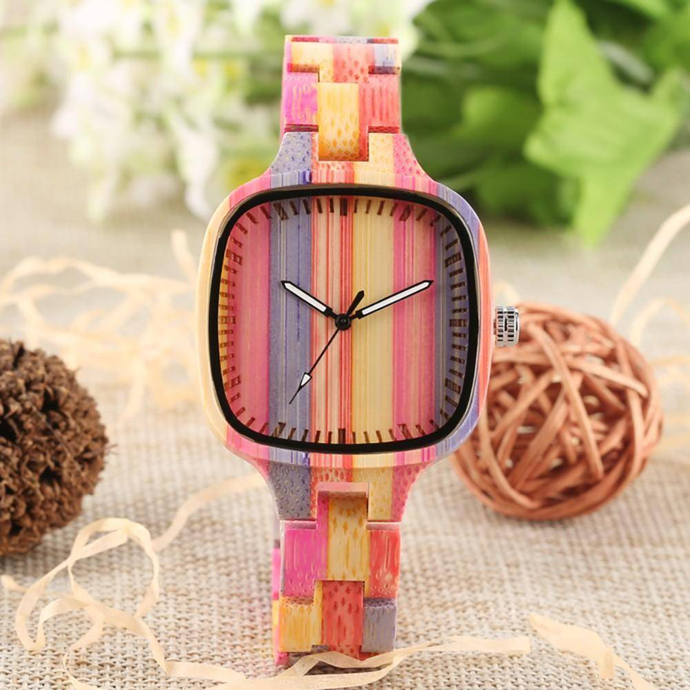 Colorful Bamboo Wooden Watch - Bracelet-style Wristwatch Jewelry & Watches Gadget Monkey