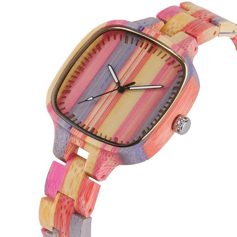 Image of Colorful Bamboo Wooden Watch - Bracelet-style Wristwatch Jewelry & Watches Gadget Monkey