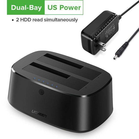 Image of HDD Docking Station SATA to USB 3.0 for 2.5 and 3.5 SSD Hard Drive Enclosure Tech Accessories Gadget Monkey Dual-Bay US Power