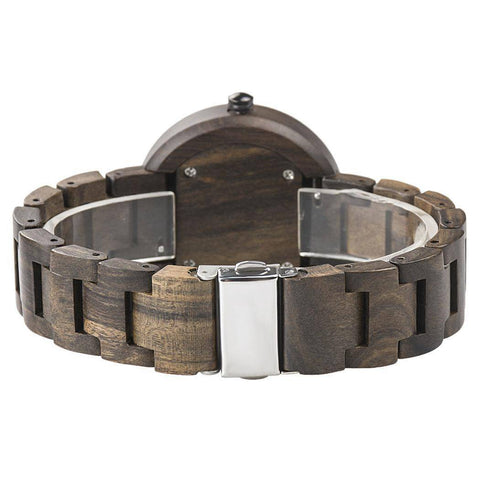 Womens Sandalwood and Ebony Wooden Watch - Analog Quartz Wristwatch Jewelry & Watches Gadget Monkey
