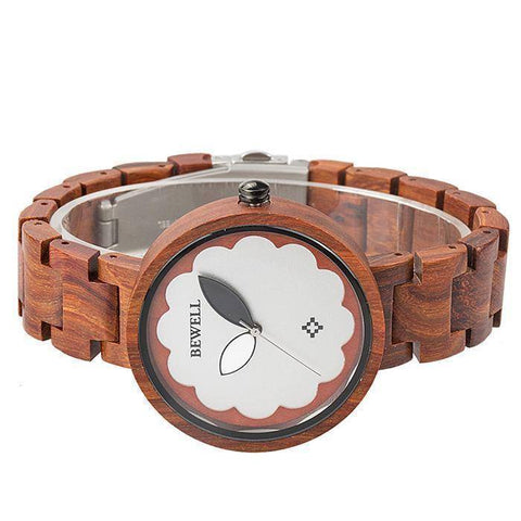 Image of Womens Sandalwood and Ebony Wooden Watch - Analog Quartz Wristwatch Jewelry & Watches Gadget Monkey