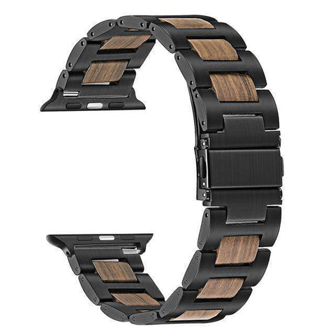Image of Natural Walnut Wood + Stainless Steel Wooden Watch Band for iWatch Apple Watch 38mm 40mm 42mm 44mm Series 1 2 3 4 Jewelry & Watches Gadget Monkey Black Walnut 38mm