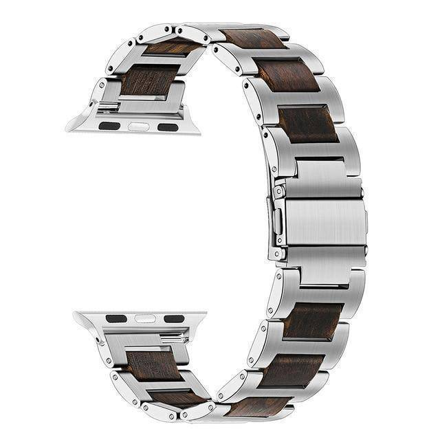 Natural Walnut Wood + Stainless Steel Wooden Watch Band for iWatch Apple Watch 38mm 40mm 42mm 44mm Series 1 2 3 4 Jewelry & Watches Gadget Monkey Silver Ebony 38mm