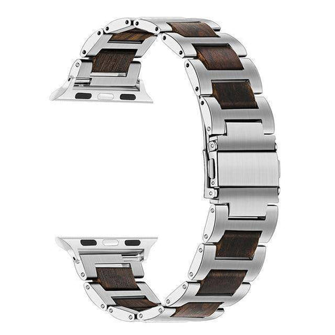 Image of Natural Walnut Wood + Stainless Steel Wooden Watch Band for iWatch Apple Watch 38mm 40mm 42mm 44mm Series 1 2 3 4 Jewelry & Watches Gadget Monkey Silver Ebony 38mm