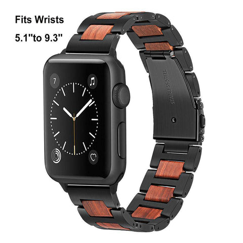 Image of Natural Walnut Wood + Stainless Steel Wooden Watch Band for iWatch Apple Watch 38mm 40mm 42mm 44mm Series 1 2 3 4 Jewelry & Watches Gadget Monkey