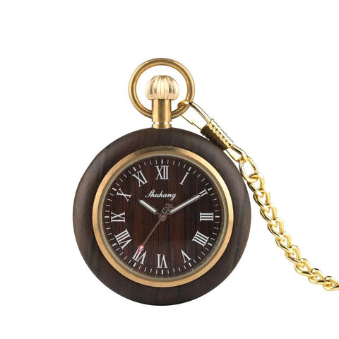Mens Bamboo Case Pocket Watch - Wooden Dial Simple and Fashionable Tech Accessories Gadget Monkey Natural