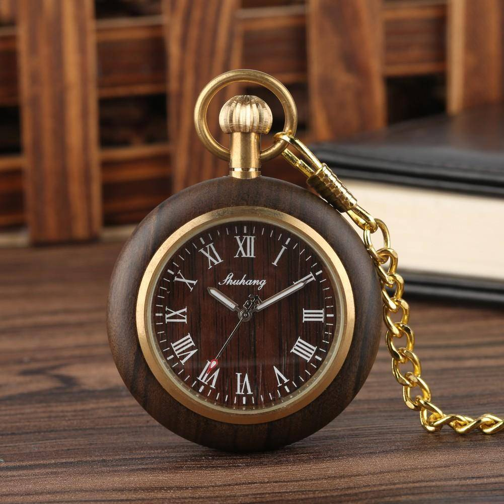 Mens Bamboo Case Pocket Watch - Wooden Dial Simple and Fashionable Tech Accessories Gadget Monkey