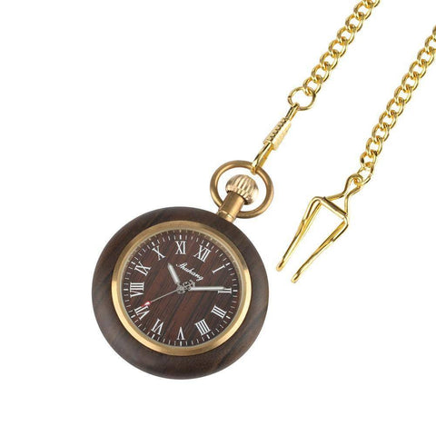Image of Mens Bamboo Case Pocket Watch - Wooden Dial Simple and Fashionable Tech Accessories Gadget Monkey