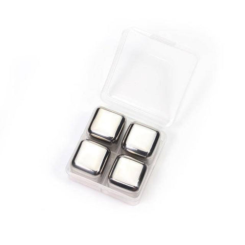 Image of Stainless Steel Ice Cubes - Reusable Chilling Stones and Beer Coolers Home & Garden Gadget Monkey 4 Pack