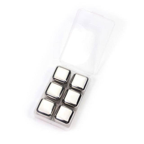 Image of Stainless Steel Ice Cubes - Reusable Chilling Stones and Beer Coolers Home & Garden Gadget Monkey 6 Pack