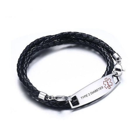 Diabetic Medical Alert Bracelet - Black Braided Leather, Triple Wrapped for Diabetes Type 1 and Type 2 Health & Beauty Gadget Monkey TYPE 2 DIABETES for women