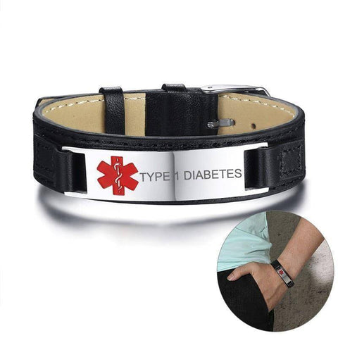 Image of Diabetic Medical Alert ID Bracelet for Men, Genuine Leather For Type 1 and Type 2 Diabetes Health & Beauty Gadget Monkey