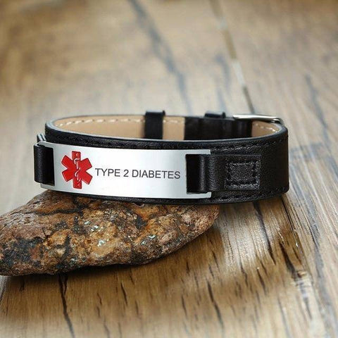 Image of Diabetic Medical Alert ID Bracelet for Men, Genuine Leather For Type 1 and Type 2 Diabetes Health & Beauty Gadget Monkey TYPE 2 DIABETES
