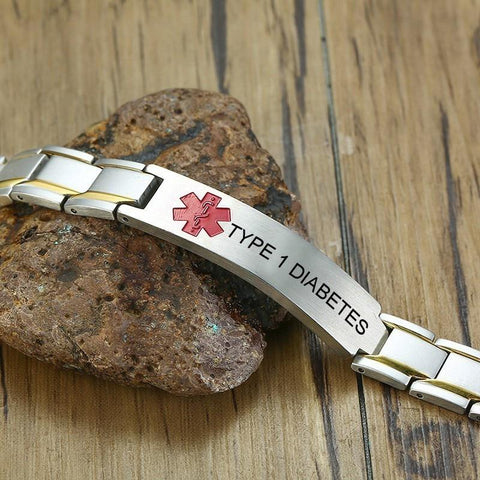 Mens Diabetic Medical ID Bracelet - Stainless Steel - For Type 1 and Type 2 Diabetes Health & Beauty Gadget Monkey