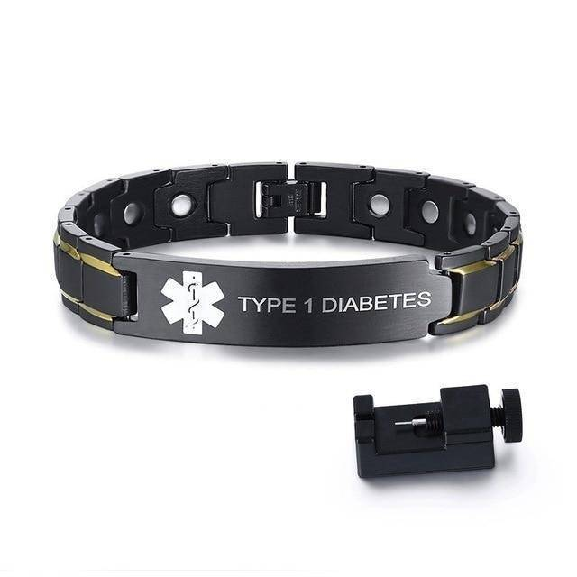 Mens Diabetic Medical Alert ID Bracelet - Black Stainless Steel - For Type 1 and Type 2 Diabetes Health & Beauty Gadget Monkey Type 1 Diabetes
