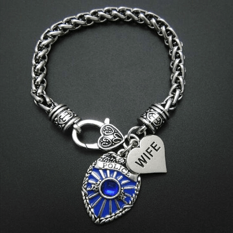 Image of Police Badge Charm Bracelet - First Responder Jewelry & Watches Gadget Monkey Wife