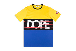 DOPE SPORT CLUB T-SHIRT PANELED TEE YELLOW BLUE