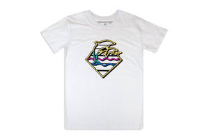 Pink Dolphins Waves Tee- White