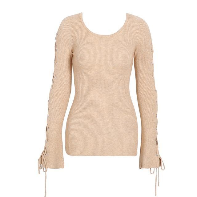LACED FLARE SLEEVED PULLOVER