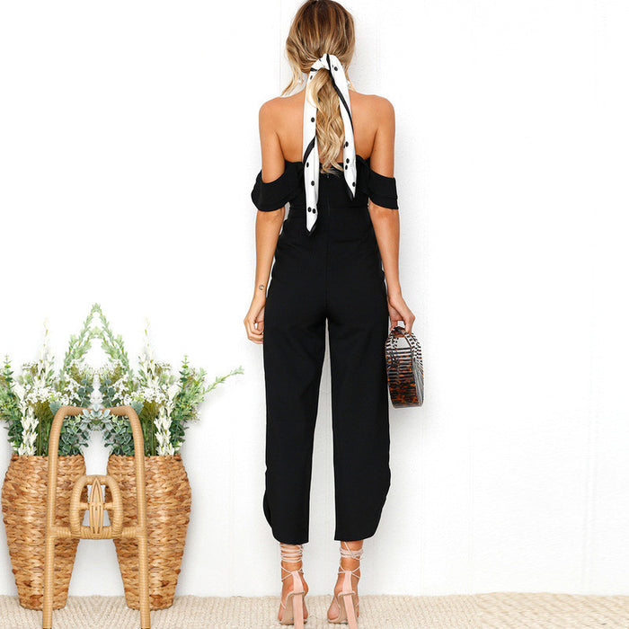 SPLIT OFF SHOULDER JUMPSUIT