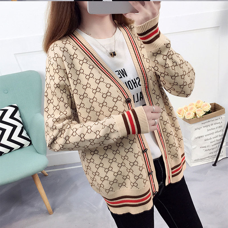 PATTERNED KNITTED CARDIGAN