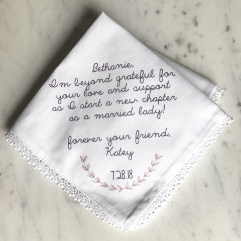 custom wedding hankie