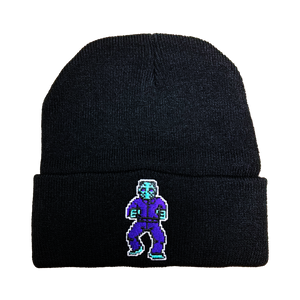 8-bit Jason Embroidered Beanie - UNMASKED Horror & Punk Patches and Decor