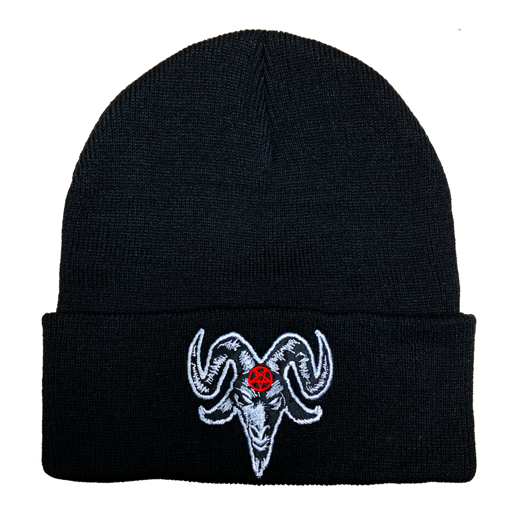 Baphomet Satanic Embroidered Beanie - UNMASKED Horror & Punk Patches and Decor