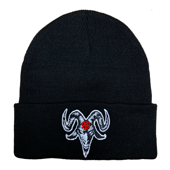 Baphomet Satanic Embroidered Beanie - UNMASKED