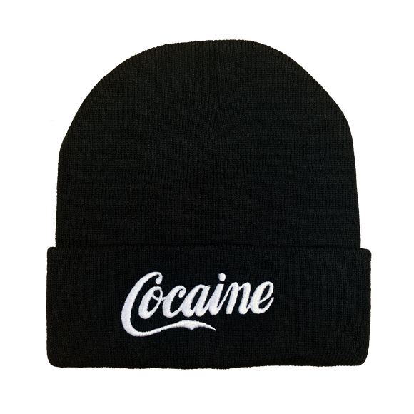 Cocaine Embroidered Beanie - UNMASKED Horror & Punk Patches and Decor