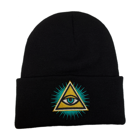 Illuminati Evil Eye Embroidered Beanie - UNMASKED Horror & Punk Patches and Decor